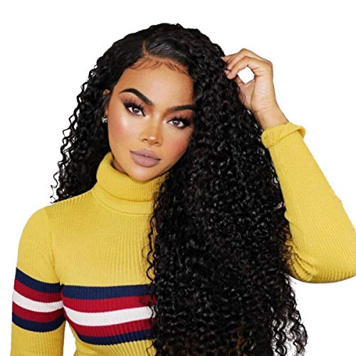 Beauty On Line 100% Human Hair Wigs Brazilian Kinky Curly 3 Part 4x4 Lace Closure Wigs For Women Bleached Knots 130% Density (20