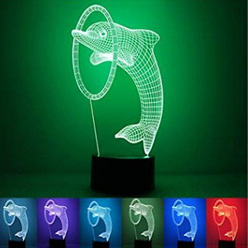 NIUDB Optical Illusion 3D Dolphin Lighting Nightlight Laser Cut Precision LED Lights Multicolored USB Powered Light Desk Lamps Yoga, Office, Spa, Bedroom,Baby Room (dolphin)