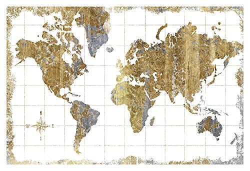 Beautiful Gold, Grey and White Map of The World by Wild Appl