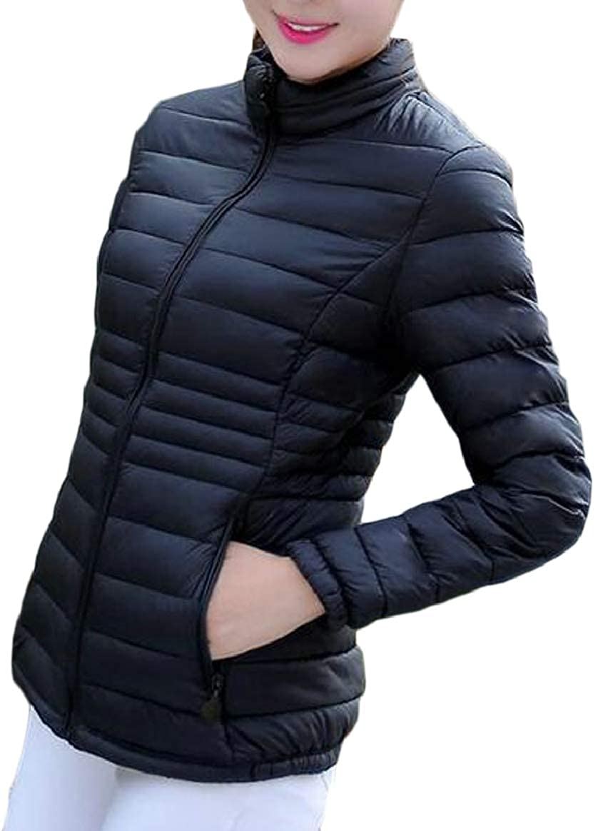 Black pujinggeCA Women Warm Slim Stand Neck Down Quilted Lightweight Puffer Coat