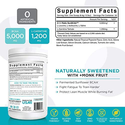 TRU BCAA, Plant Based Branched Chain Amino Acids, Vegan Friendly, Zero Calories, No artificials sweeteners or Dyes, Improve Fat Loss, 50 Servings (Tropical Popsicle) 2