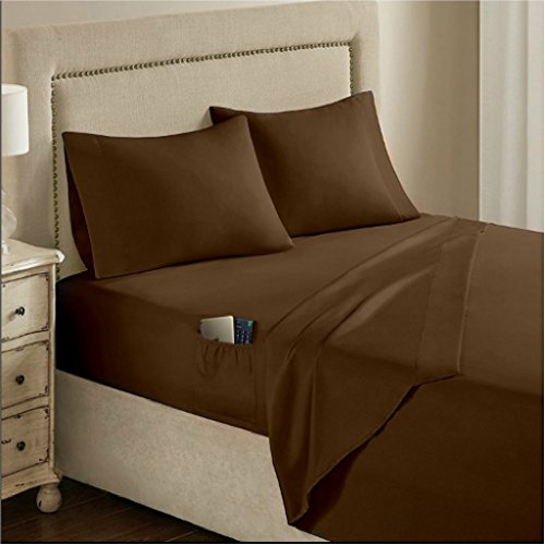 Renesmee Collections 1800 Series Brushed Microfiber 10 Inch Extra Deep Pocket 1PC Fitted Sheet with Side Storage Pocket King Size Solid Chocolate - Deep Pocket Fitted Sheet