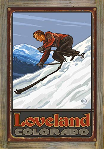 Northwest Art Mall Loveland Colorado Downhill Skier Man Rustic Metal Print on Reclaimed Barn Wood by Paul A. Lanquist (12