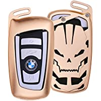 DAYJOY Luxury Skull Style Premium Aluminum Car Key Shell Cover With Key Chain For BMW keyless remote control Smart Key Fob Holder 1/2/3/4/5/6/M/X SERIES X3 X4 M2 M3 M4 M5 M6(GOLDEN)
