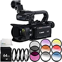 Canon XA11 Compact Full HD Camcorder 6PC Accessory Bundle – Includes 64GB SD Memory Card + 3PC Filter Kit (UV + CPL + FLD) + MORE - International Version (No Warranty)