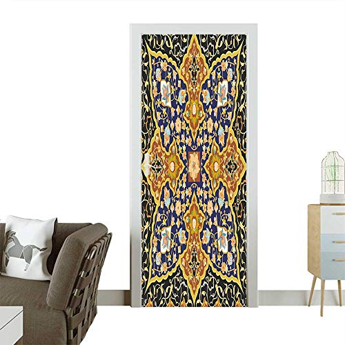 Antiques Persian Vase - Homesonne Door Art Sticker Detailed Arabic Floral Mosaic Patterns Eastern Antique Oriental Persian Artwork Room decorationW30 x H80 INCH