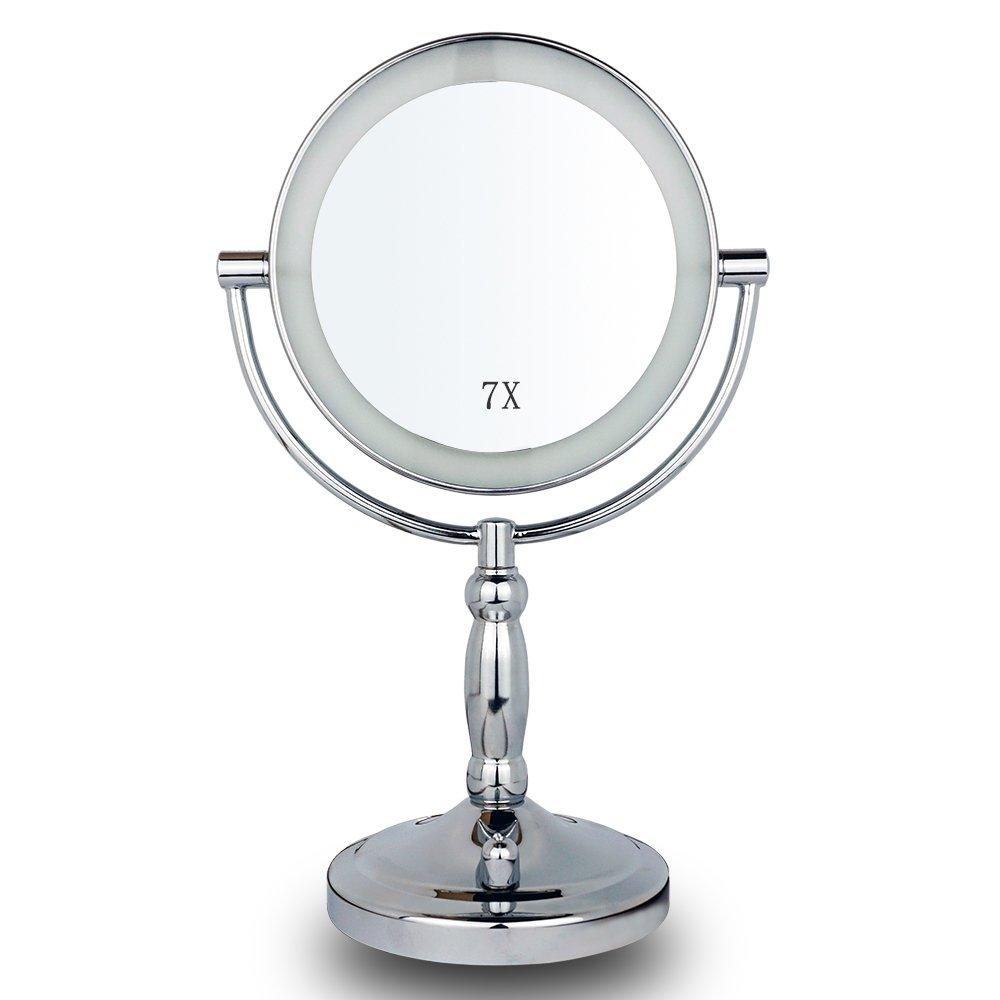 Miroir de Maquillage Lumineux Grossissant 7X, Miroir de Courtoisie LED avec Interrupteur Réglable de Lumière, Miroirs Lumineux Double-face Ovale de 7 pouces Mirror pour Salle de bain, Chambre, Table, Bureau Tongxinying