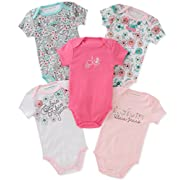 Calvin Klein Baby Girls 5 Pieces Pack Bodysuits, Pink/Mint/White, 3-6 Months
