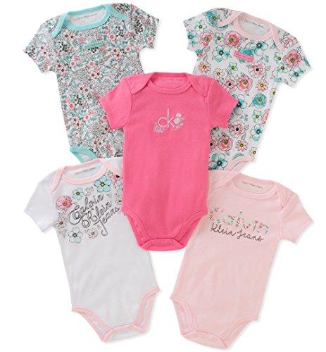 Calvin Klein Baby Girls 5 Pieces Pack Bodysuits, Pink/Mint/White, 3-6 Months