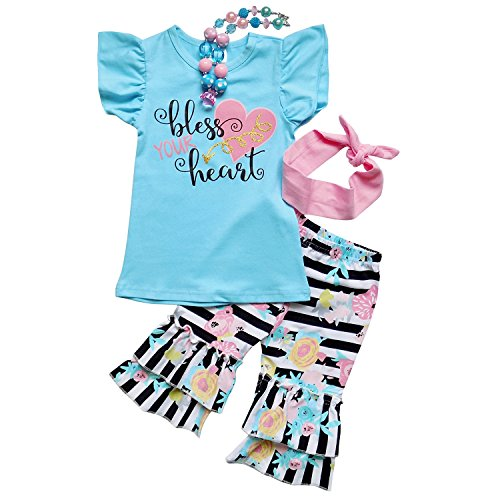 So Sydney Girls Toddler Fun Sayings Short Sleeve T-Shirt Top Capri Pants Outfit (XS (2T), Bless Your Heart)