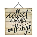 "Collect Moments Not Things Inspirational Reclaimed Wood Sign, 12"" x 12"" Rustic Home Decor Plaque with Hanger bundle sold by Imprints Plus, made by Highland Woodcrafters 48-01607"
