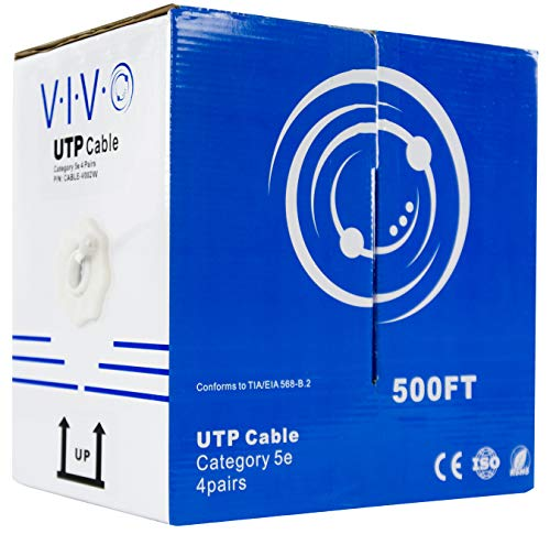 - VIVO White 500 ft Bulk Cat5e Ethernet Cable/Wire UTP Pull Box Cat-5e 500ft (CABLE-V002W)