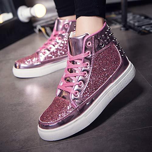 Silvery Quarante Les casual Sports Rivets Chaussures De Amoureux Medium Pour Kmjbs zwPqFvOv