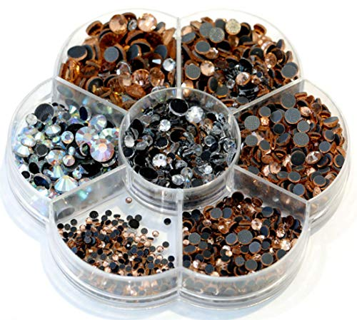 (BLINGINBOX Hotfix Rhinestone 28 Colors to Choose 3000pcs Mixed Sizes(ss6-ss30) Champagne DMC Hot Fix Glass Rhinestone)