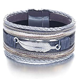 FINETOO Multi-Layer Leather Bracelet – Braided Wrap Cuff Bangle – with Alloy Magnetic Clasp Handmade Jewelry for Women,Girl Gift
