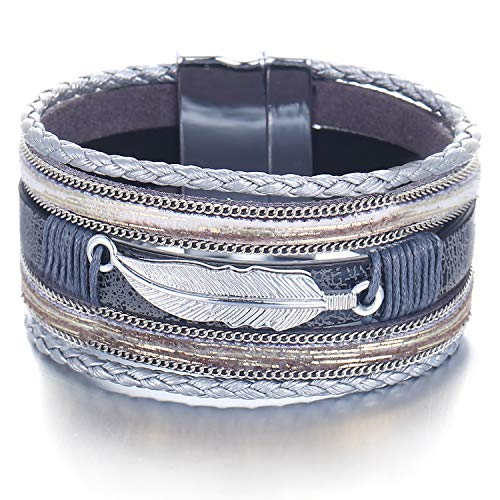 FINETOO Feather Grey Wrap Leather Bracelet Multilayer Cuff Rope Hand Rhinestone Fashion Bohemian Jewelry with Alloy Magnetic ()