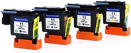 Caidi 4 x HP11 Cabezal de impresión para HP 11 C4810 A C4811 A C4812 A