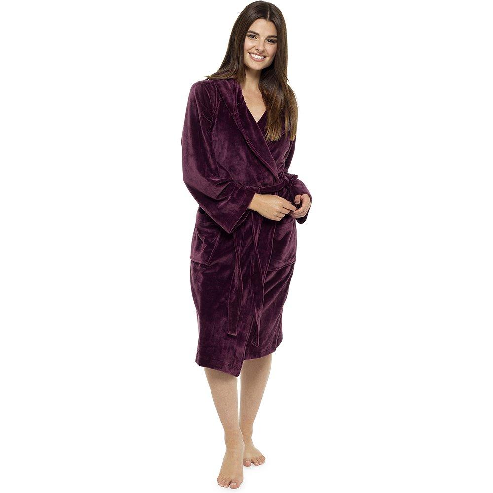 Womens Ladies Luxury Dressing Gown Hooded Bath Robe Moleskin Velvet Touch Plush LN425