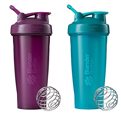 Blender Bottle Classic Loop Top Shaker Bottle, 28-Ounce 2-Pack, Plum/Plum and Teal/Teal (Thrive Blender Bottle)