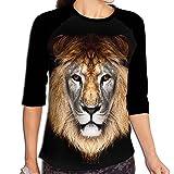 Stylish Women's Mighty Lion Wild Animal Africa Portrait Mid Sleeve Raglan T-Shirt