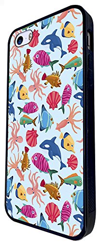 1290 - Cool Fun Trendy Cute Kawaii Cartoon Dolphin Octopus Fish Ocean Creatures Sketch Illustrations Collage Design iphone SE - 2016 Coque Fashion Trend Case Coque Protection Cover plastique et métal