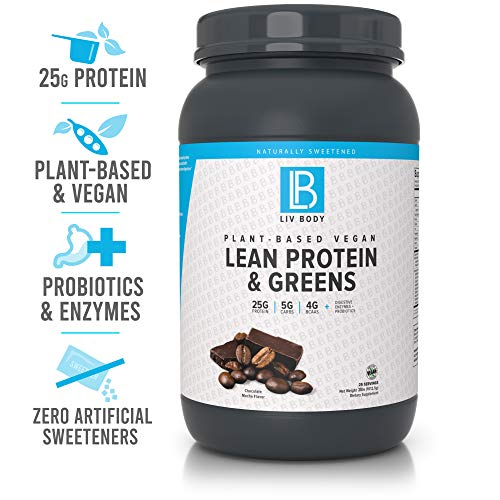 LIV Body | Plant-Based Vegan Lean Protein + Greens | Digestive Enzymes + Probiotics | 25g of Protein, 5g of Carbs & 4g of BCAA | 3 Great Flavor Choices (Chocolate Mocha)