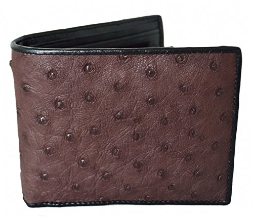 Authentic Ostrich Skin Men's Bifold Leather Wallet Premium Grade (Dark Brown)