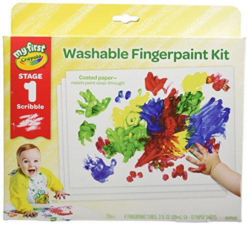 10 4 Box Sun Steps (Crayola My First Finger Paint for Toddlers, Painting Paper Included, Gift)