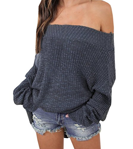 Tricot Unicolore Bateau lache chandails Manches Gris Chic Longues Off Pull Encolure over Tops nu Femme Sweater Shoulder dos Sweater Bdgx8wFqq