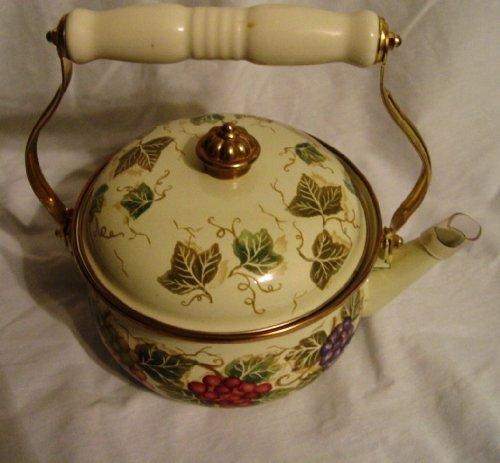 (Tabletops Unlimited Enameled Grape Vine Pattern Classy Teapot Tea Kettle )