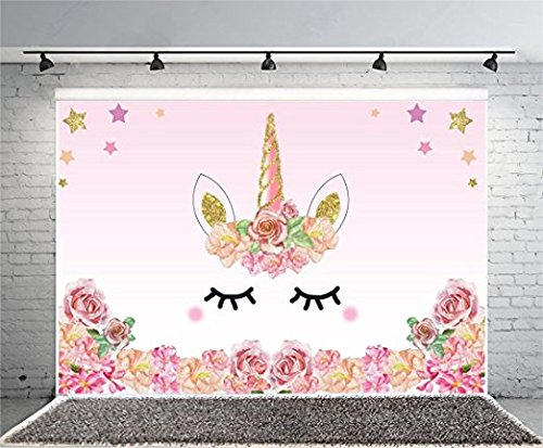 TMOTN 7x5ft Unicorn Birthday Party Banner Photography Backdrop Flowers Roses Cute Stars Smiling Face Baby Shower Unicorn Head Sweet Pink Girls Photo Stduio Props (Smiling Face Printing)