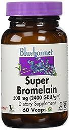 BlueBonnet Super Bromelain Vegetarian Capsules, 500 mg, 60 Count