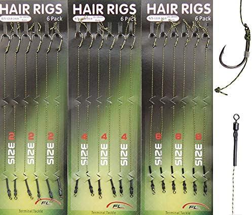 Size 12 Barbless 10 x Hair Rigs FREE RIG 30lb Green Braid