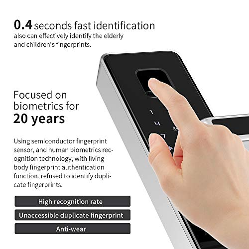 PINEWORLD Q303Plus Advance Fingerprint Smart Door Lock, Intelligent Touchscreen Door Knob with National Biometric Module+RFID Card and Mechanical Key for Home Security, Handle Direction Reversible by PINEWORLD (Image #7)