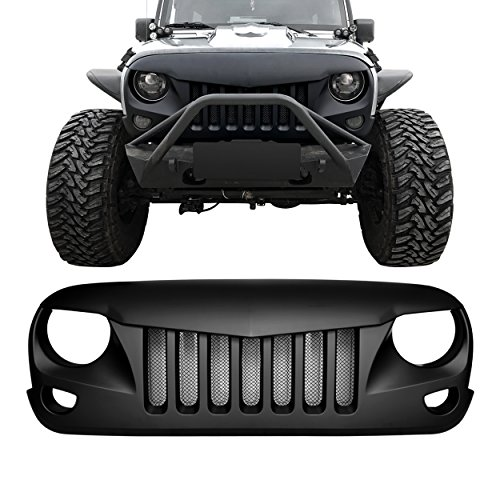 DIYTUNINGS Front Matte Black Eagle Eye Grille Grid Grill with Mesh Insert for Jeep Wrangler JK JKU Unlimited Rubicon Sahara X Off Road Sport Exterior Accessories Parts 2007-2017 (2013 Jeep Wrangler Unlimited Parts And Accessories)