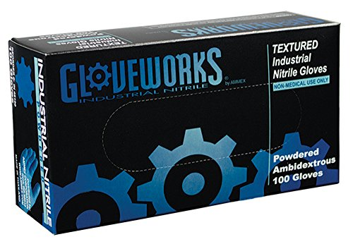 AMMEX - IN46100-BX- Nitrile Gloves - Gloveworks - Disposable, Powdered, Industrial, 5 mil, Large, Blue (Box of 100)