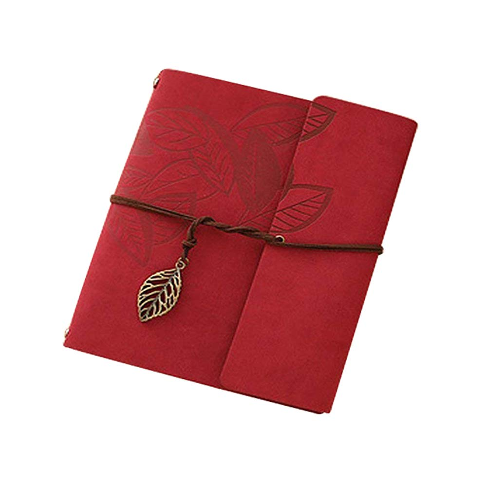 Longpro Creative DIY Loose-Leaf Photo Album Leatherette Binded Album Series Anniversary Scrapbook (Leaves, Red)