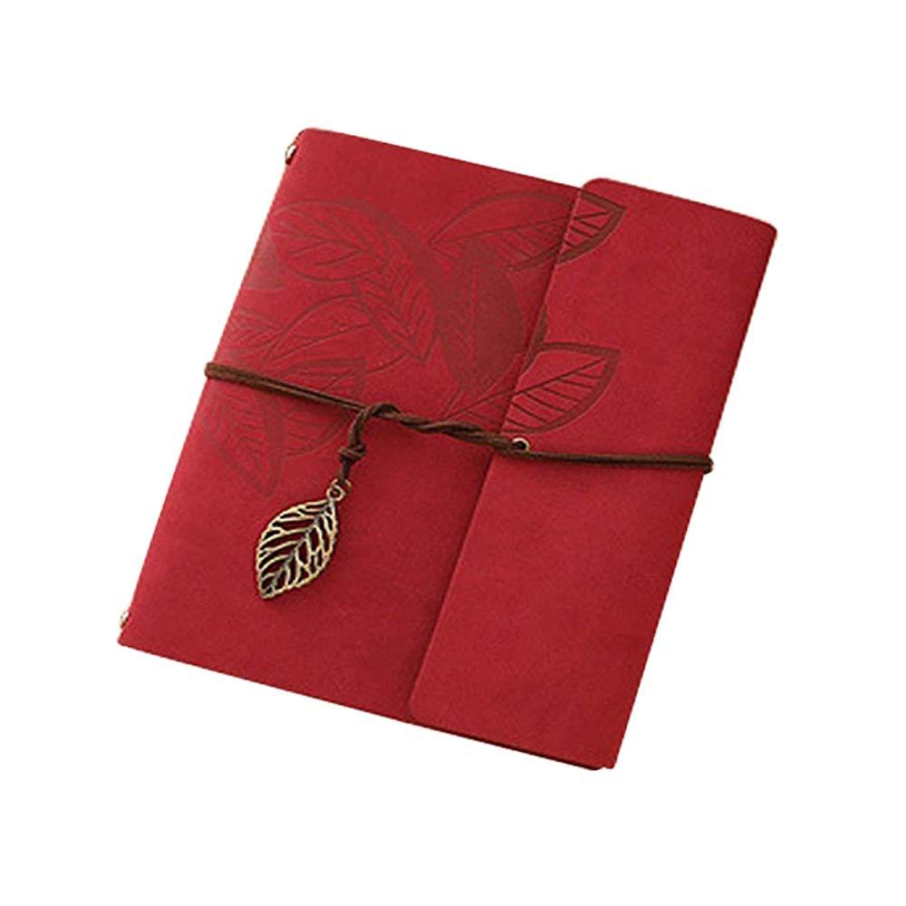 Longpro Creative DIY Loose-Leaf Photo Album Leatherette Binded Album Series Anniversary Scrapbook (Leaves, Red) by Longpro