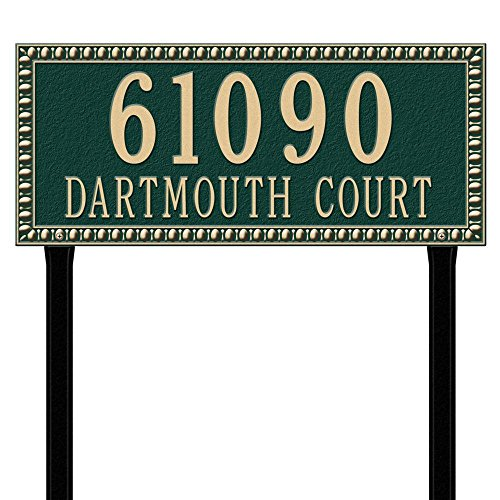 (Whitehall Products Egg and Dart Rectangular Green/Gold Estate Lawn Two Line Address Plaque )
