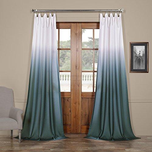 - FELCH-OMB1701-96 Ombre Faux Linen Semi Sheer Curtain, Aqua, 50 x 96