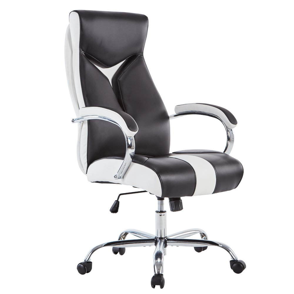 Sidanli High-Back Ergonomic Executive Office Chair, Adjustable Swivel Pu Desk Chair with Chrome Base,Computer Chair with Chrome Armrests-Black