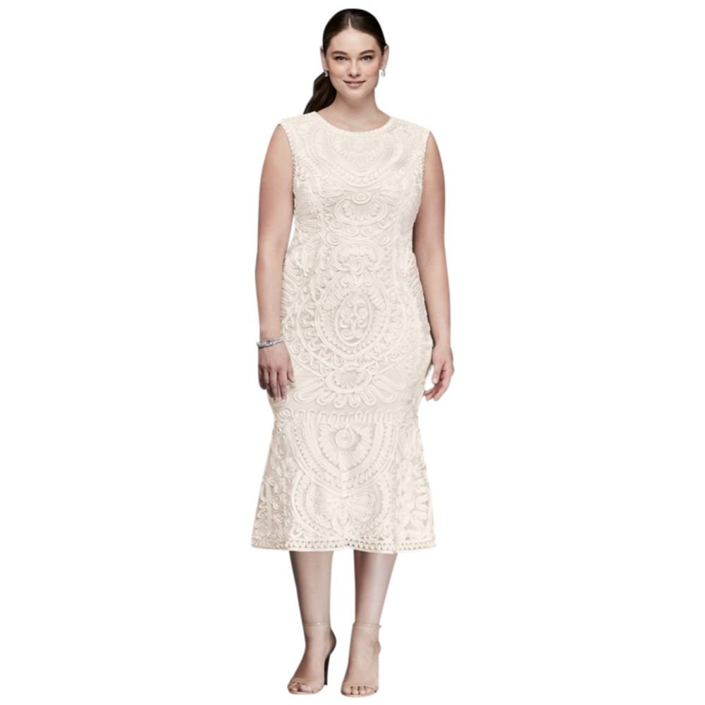 David\'s Bridal Soutache Tank Midi Plus Size Sheath Dress Style ...