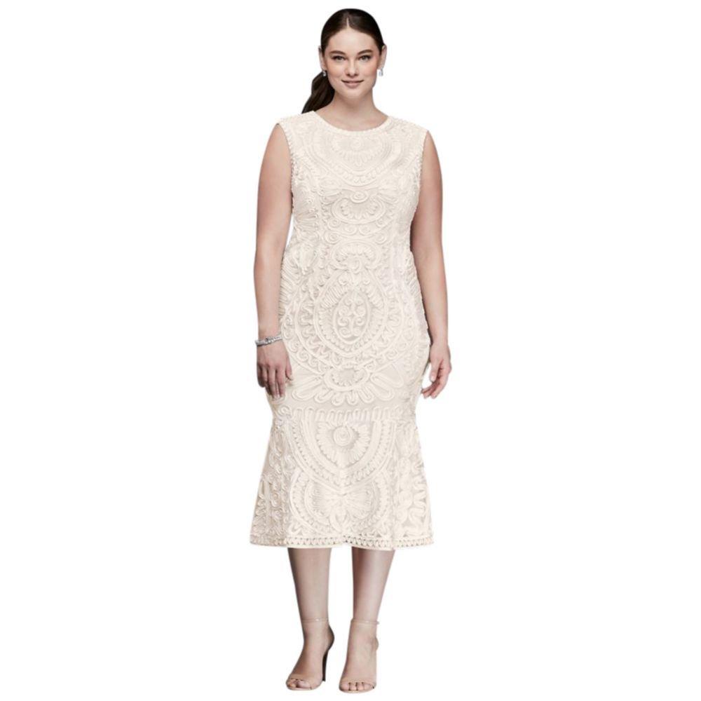 87b98b59c65 David s Bridal Soutache Tank Midi Plus Size Sheath Dress Style 862617W -  Off-white -  Amazon.co.uk  Clothing