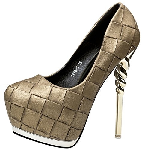 Price comparison product image Passionow Women's Retro Closed Toe Grids Patent Leather PU Hidden Platform Super High Heel Pumps (5 B(M)US, Bronze)