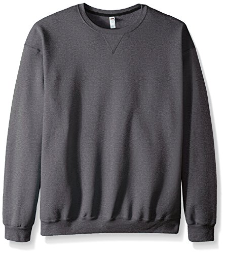 (Fruit of the Loom Men's Fleece Crew Sweatshirt, Charcoal Heather XX-Large)