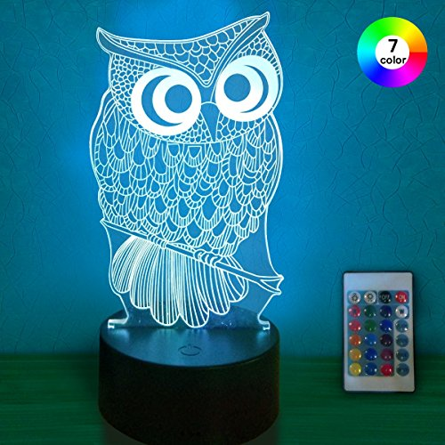 Night Lights for Kids 3D with Remote Controller LED Touch 7 Colors Changing owl Desk Lamp (3D Owl)