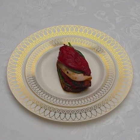 Gold Ovals Design Premium Plastic Wedding Plates (40 Pack) China- & Amazon.com: 7.5in. Gold Ovals Design Premium Plastic Wedding Plates ...