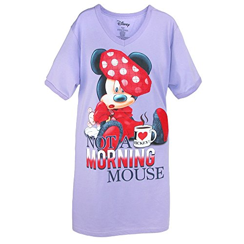 Disney Minnie Sleep Shirt Not a Morning Mouse One Size Fits Most (Light Purple)