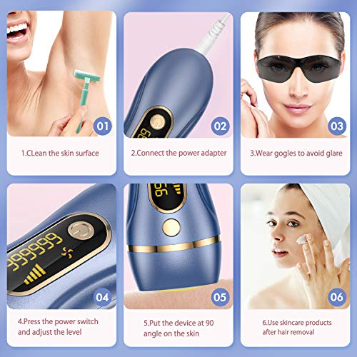 Houselog Hair Removal Permanent Hair Removal System Device Painless Hair Remover 999999 Flashes for Women and Men(Purple Blue)