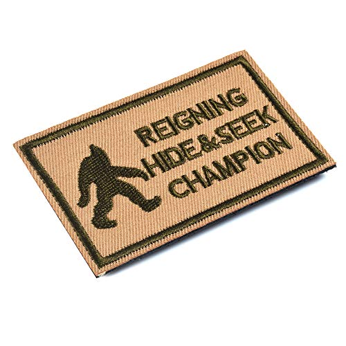 SHELCUP Reigning Hide & Seek Champion Tactical Morale Embroidery Patch Military for Tactical Gear, Coyote
